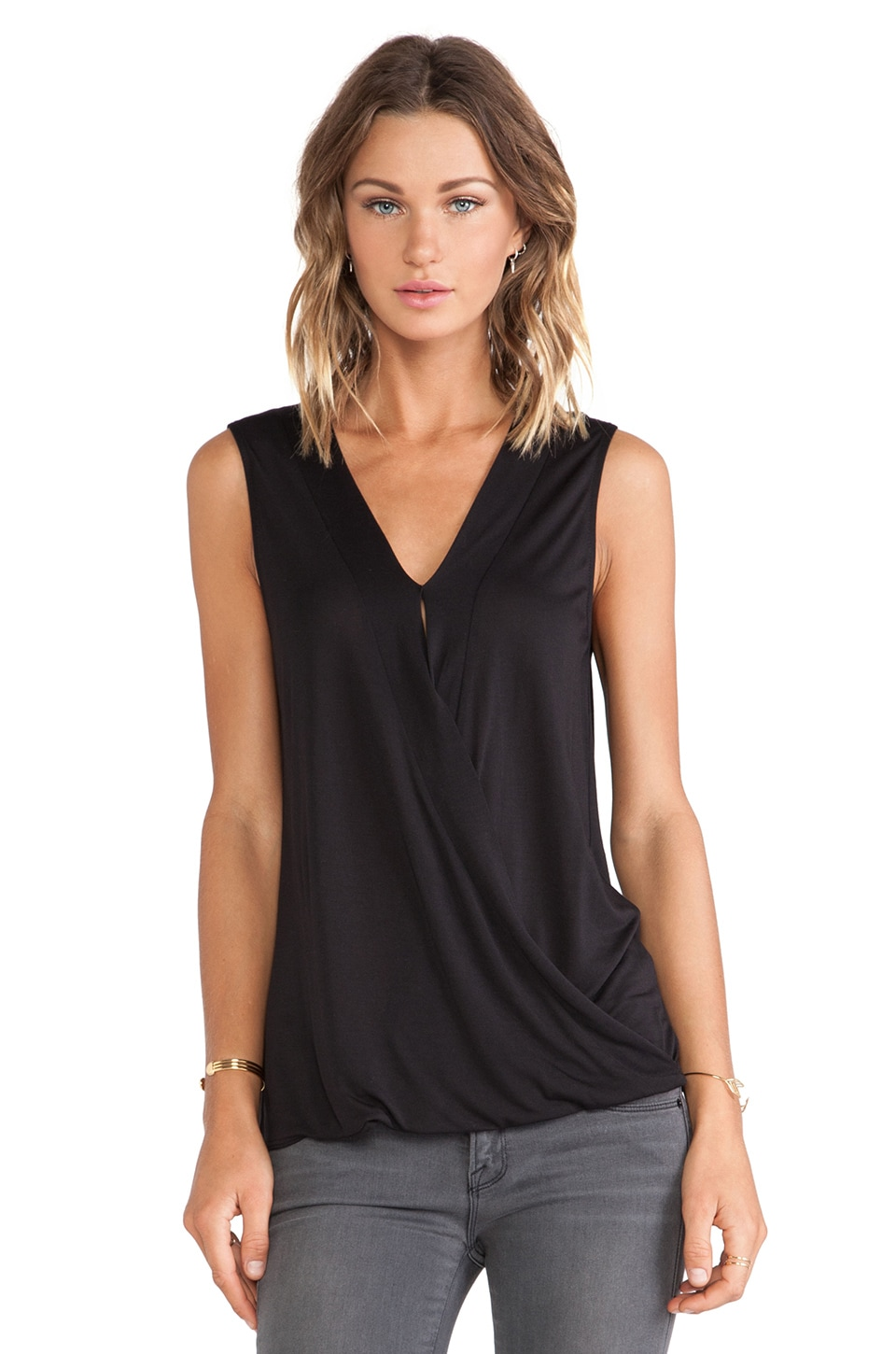 Lanston Surplice Short Sleeve in Black