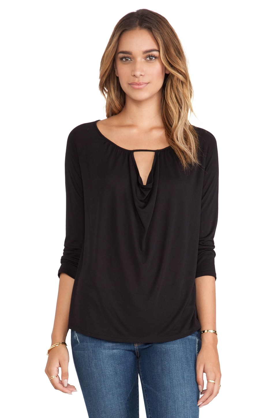 Lanston Drape Key Hole Long Sleeve in Black