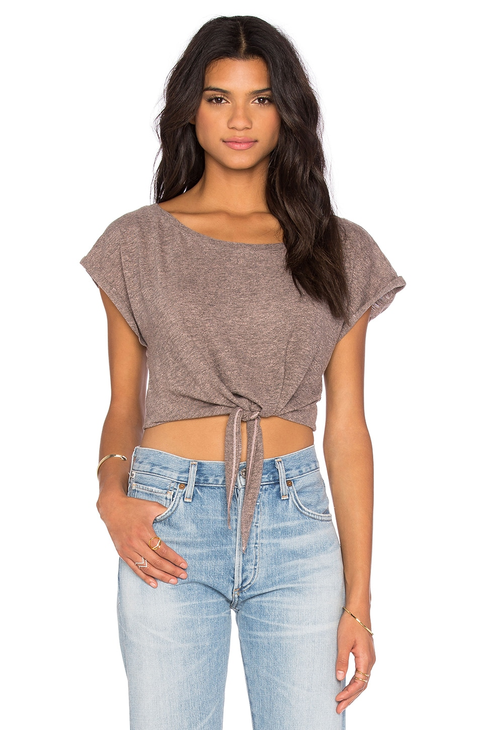Cropped Tie Tee at Revolve Clothing