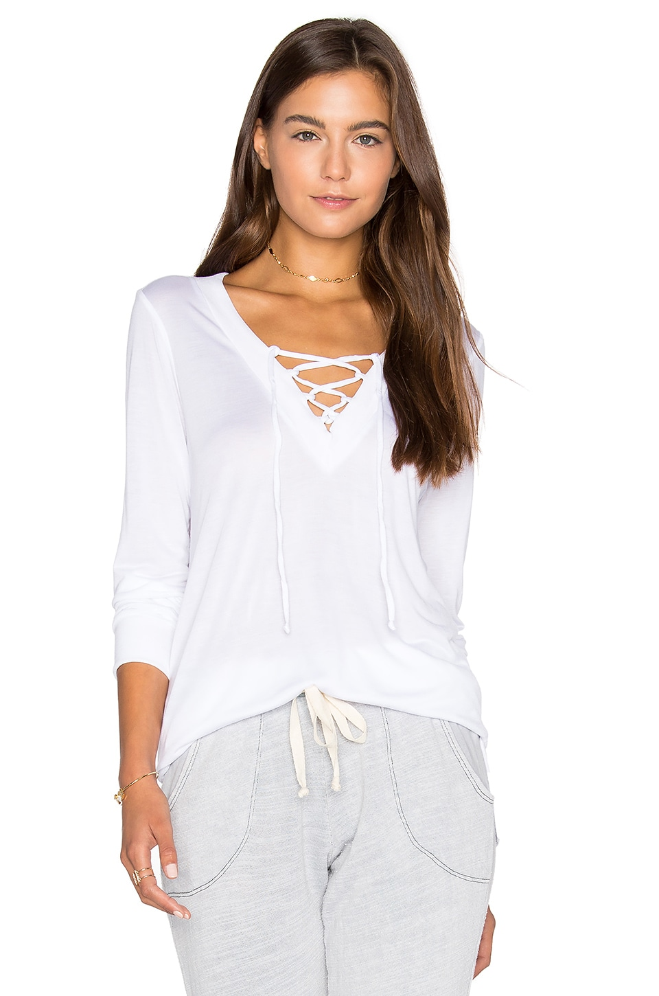 Lace Up Pullover Top by Lanston