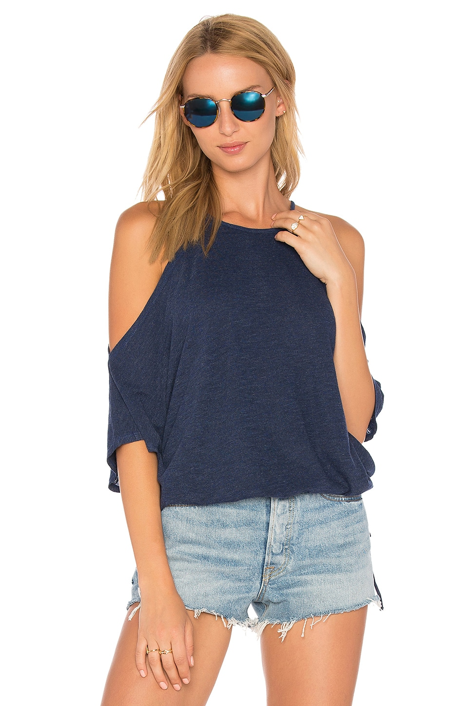 Lanston Cold Shoulder Crop Top in Cove