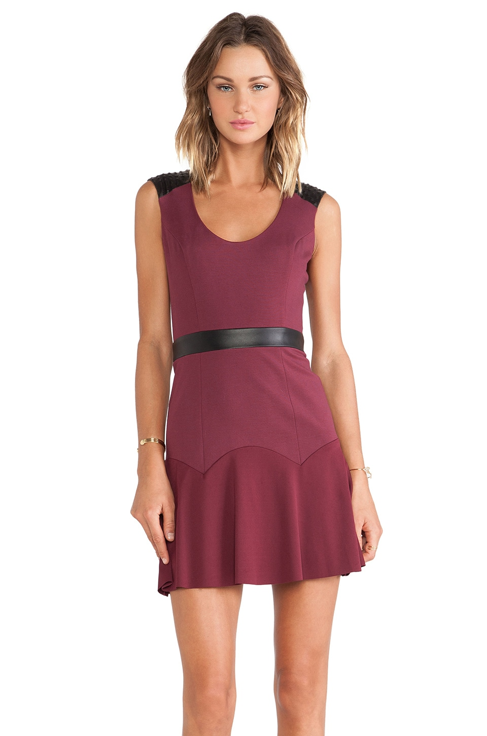 LaPina by David Helwani LaPina Lucy Mini Dress in Oxblood