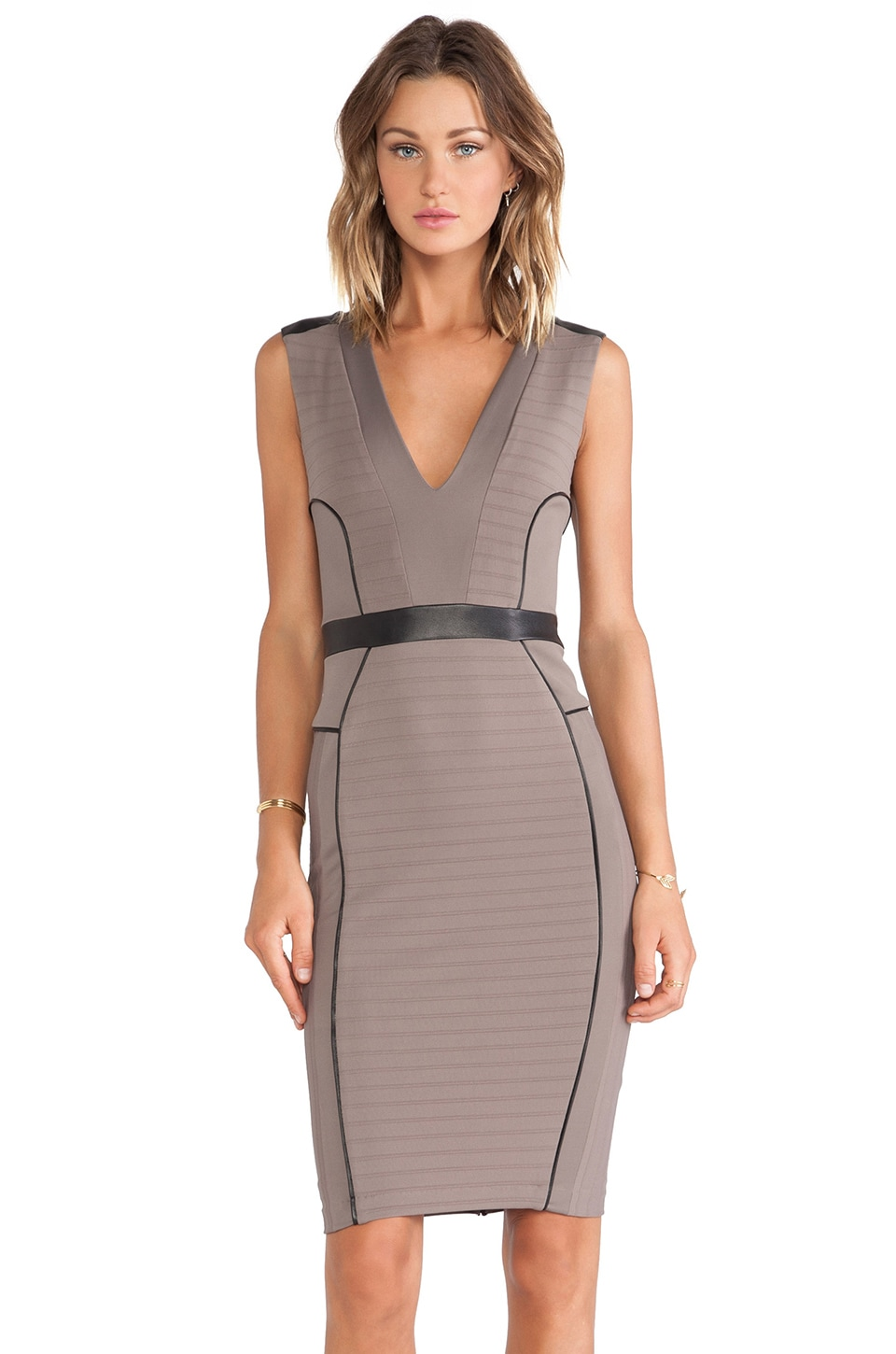 LaPina by David Helwani LaPina Kimberly V Neck Dress in Spice