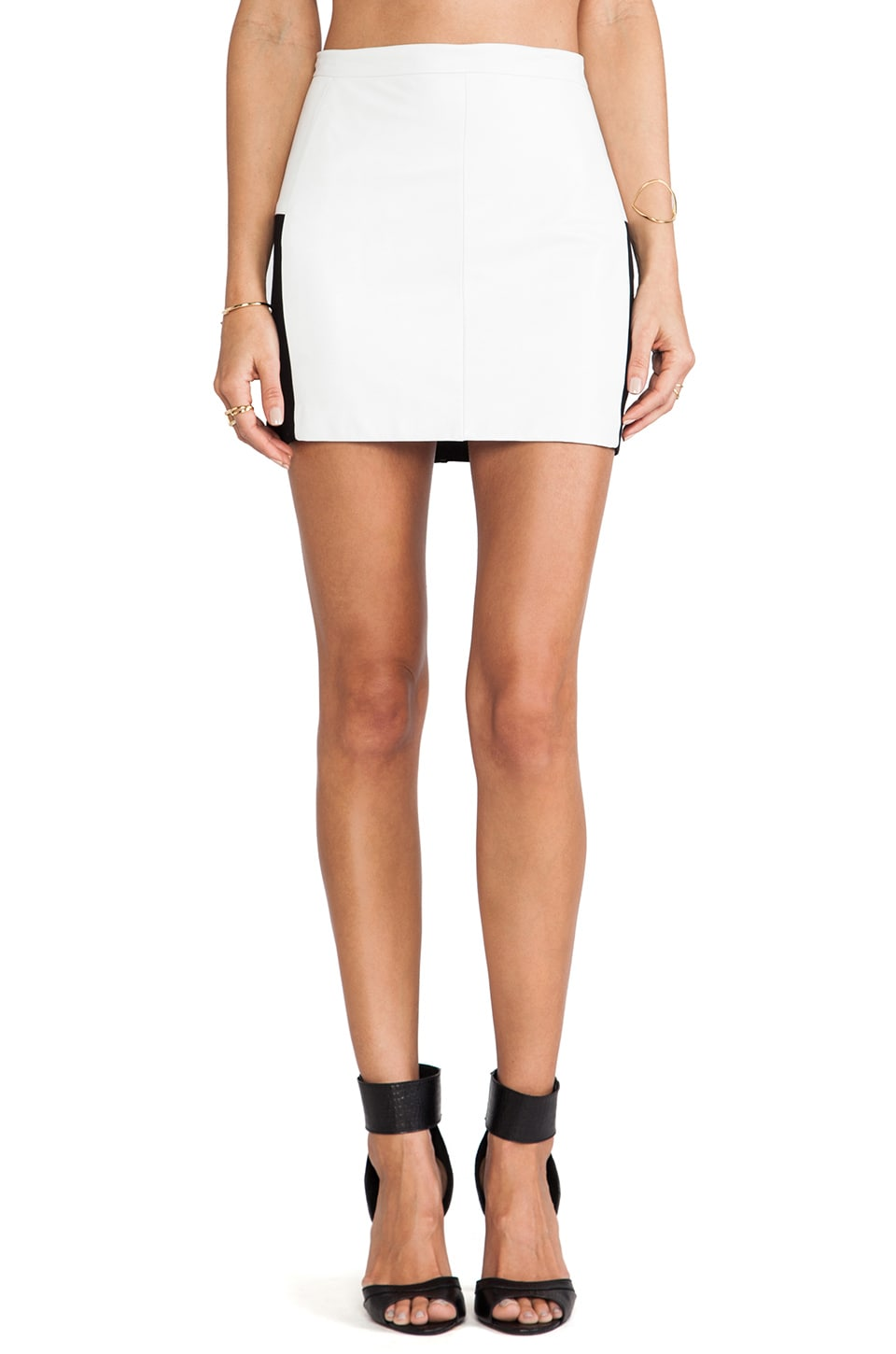LaPina by David Helwani by David Helwani Juliette Leather Skirt in White Leather/Black