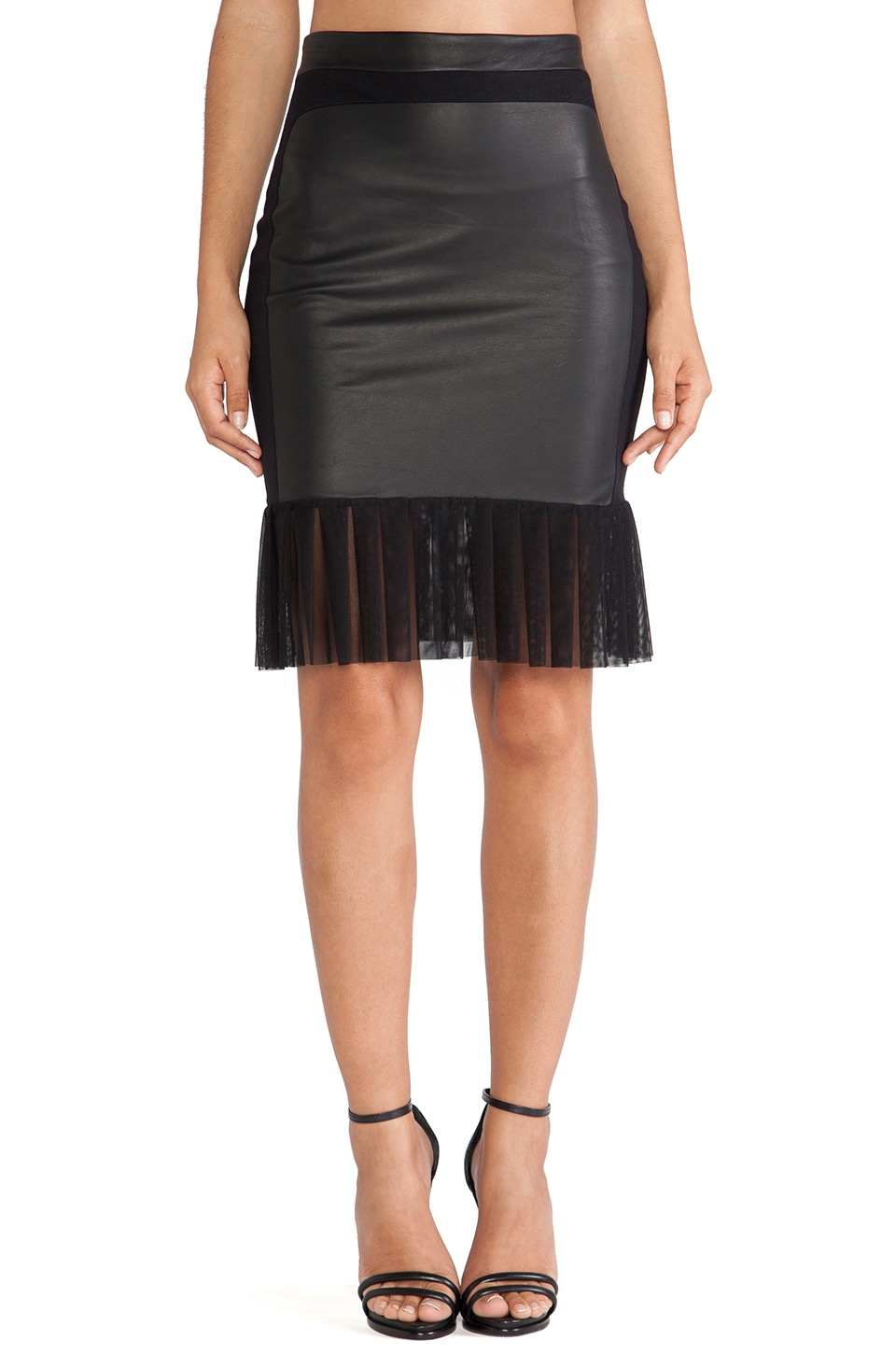 LaPina by David Helwani LaPina Simone Skirt in Black & Black Leather