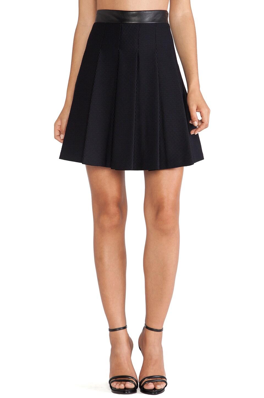 LaPina by David Helwani LaPina Morgan Skirt in Black & Black Leather
