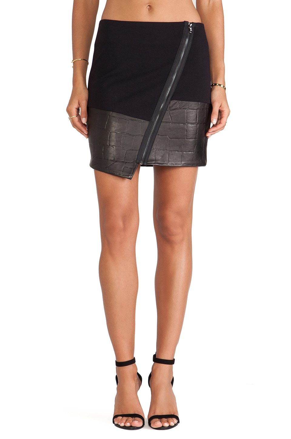 LaPina by David Helwani LaPina Natasha Asymmetric Hem Skirt in Black & Black