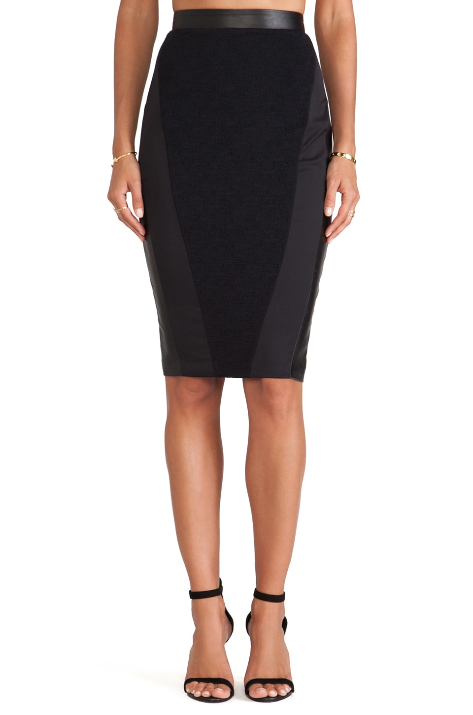 LaPina by David Helwani LaPina Cara Pencil Skirt in Black & Black