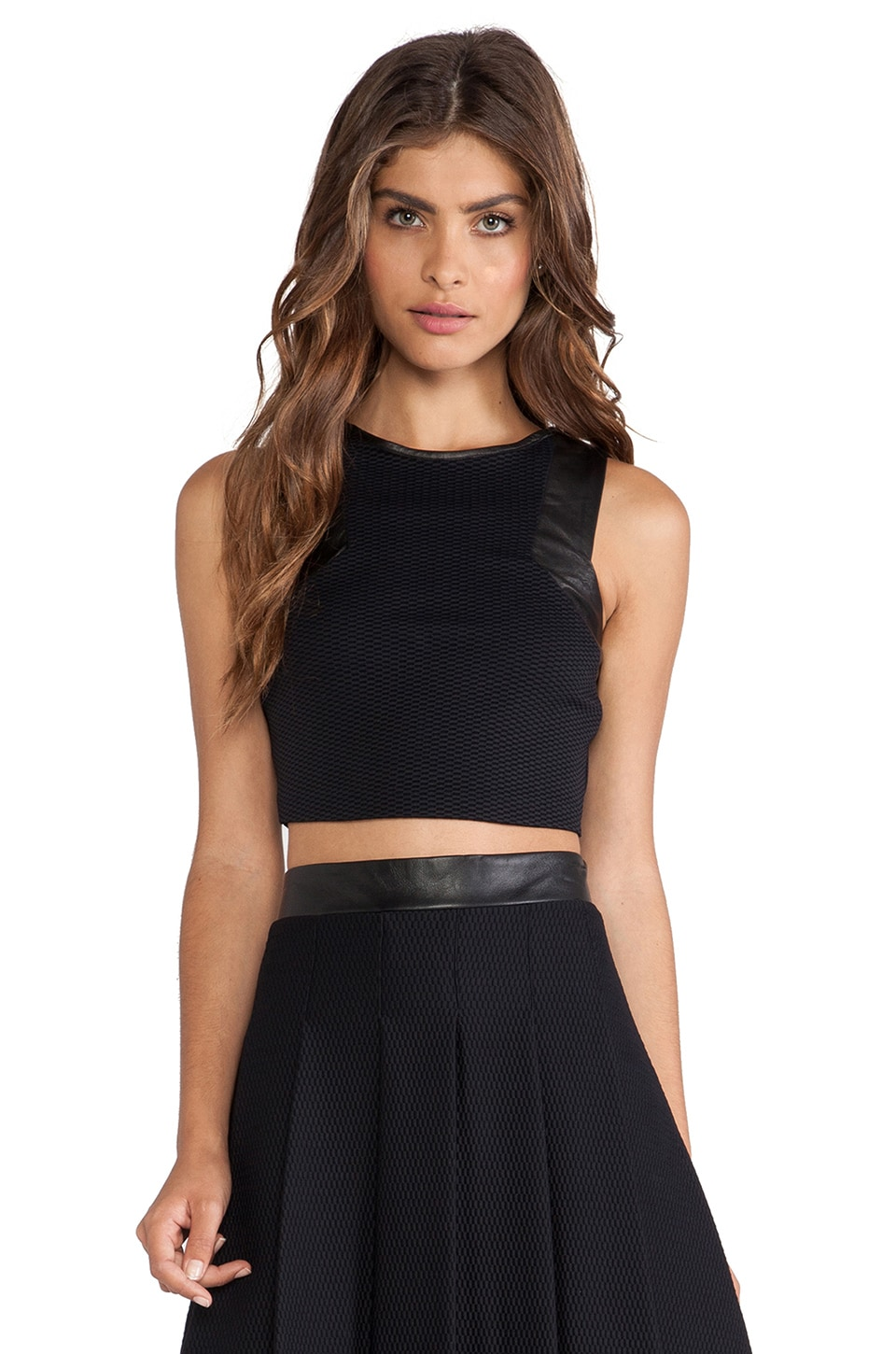 LaPina by David Helwani LaPina Adrianne Crop Top in Black & Black Leather
