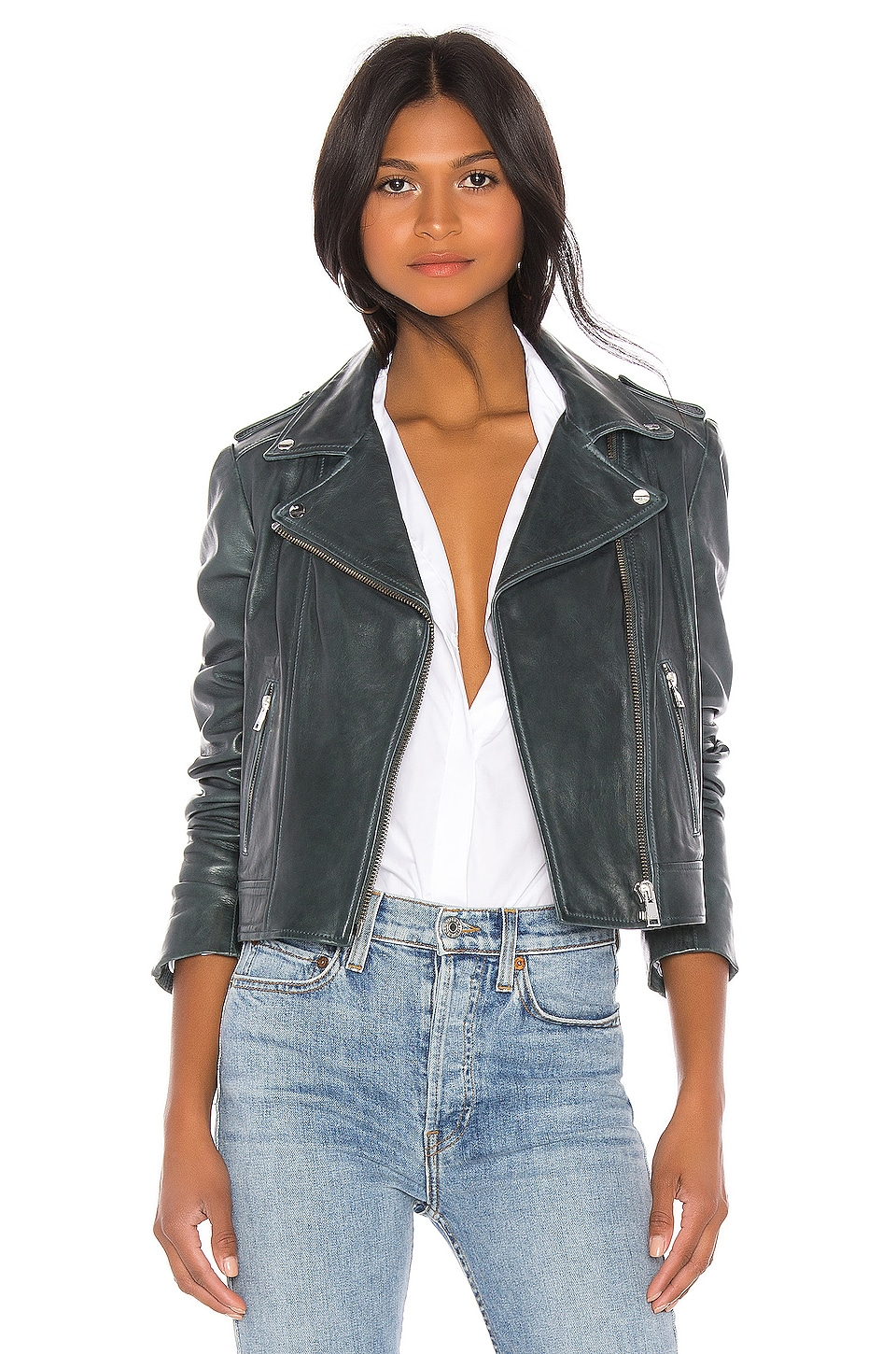 LAMARQUE Donna Leather Jacket in Graphite Alloy