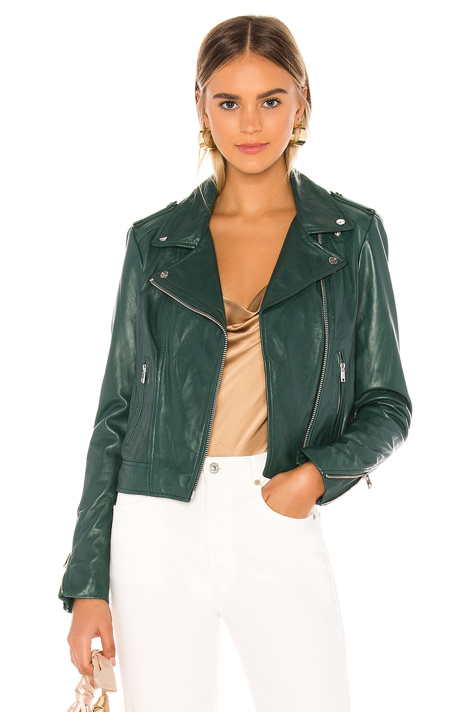 LAMARQUE Donna Leather Jacket in Bistro Green