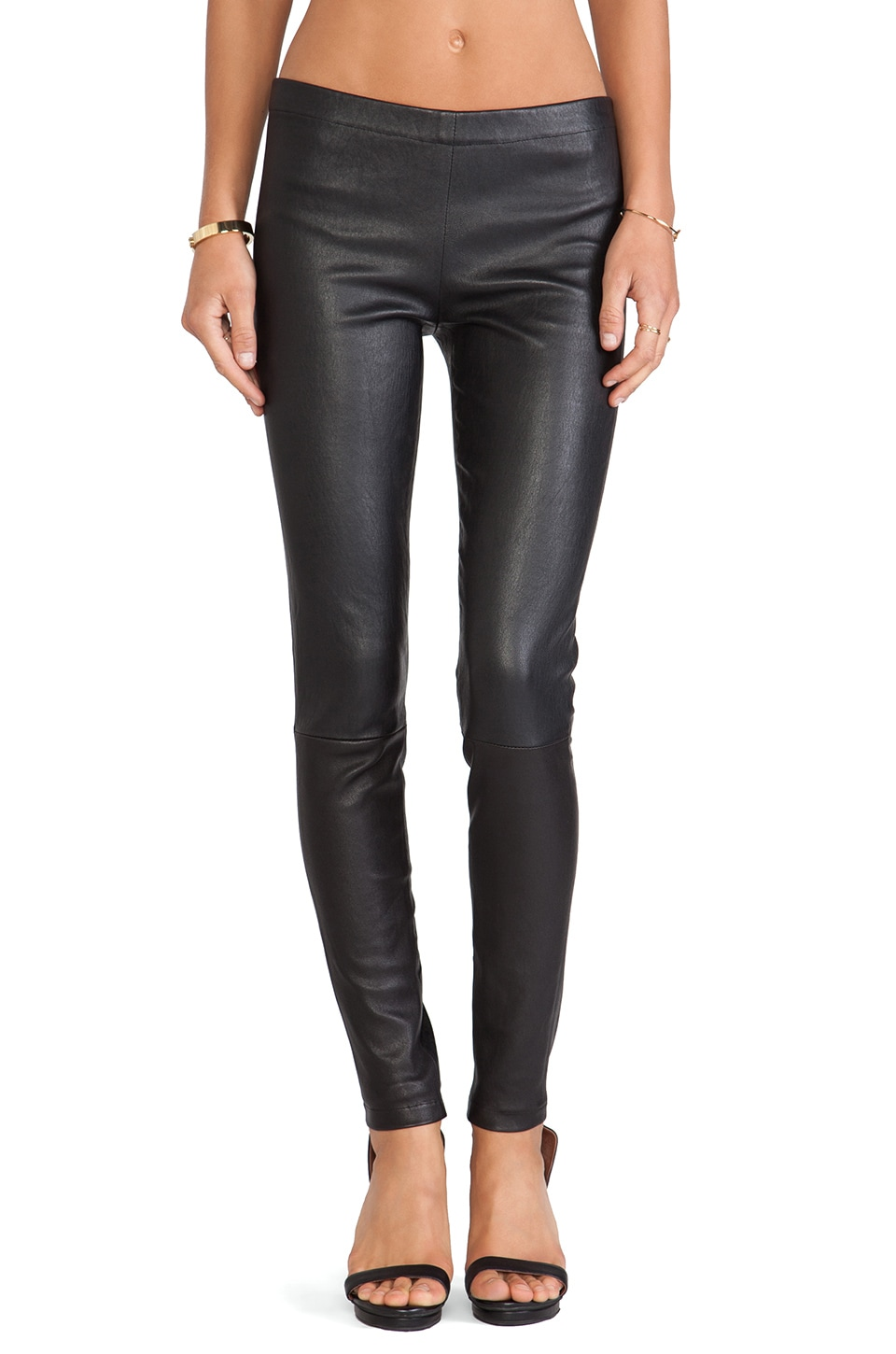 LAMARQUE Winnie Seamed Leather Legging in Black