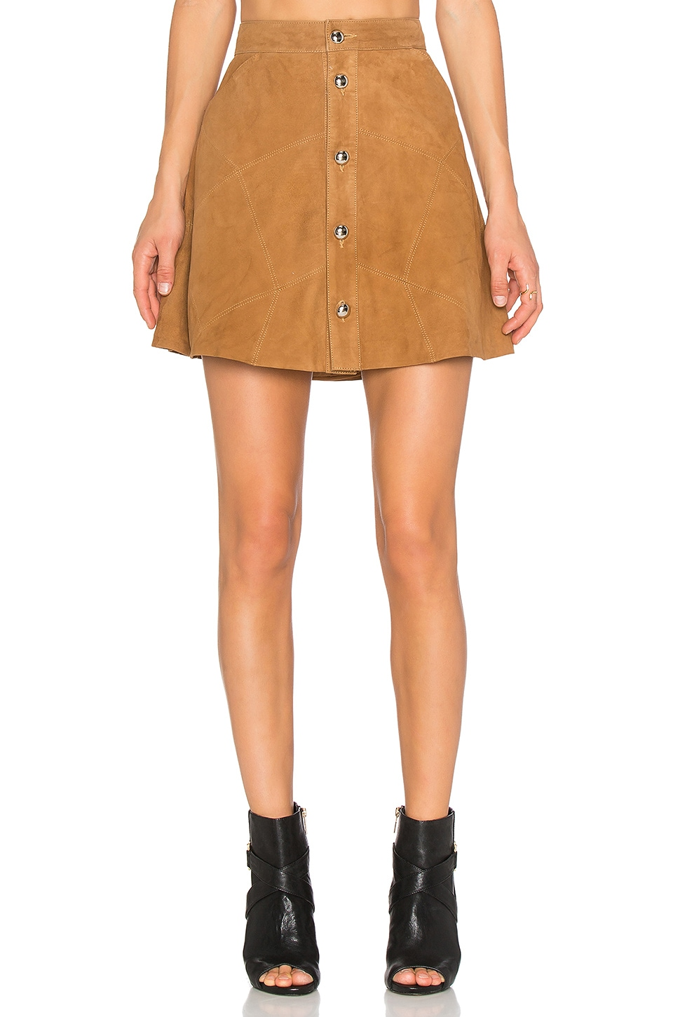 LAMARQUE Leandra Suede Skirt in Tan