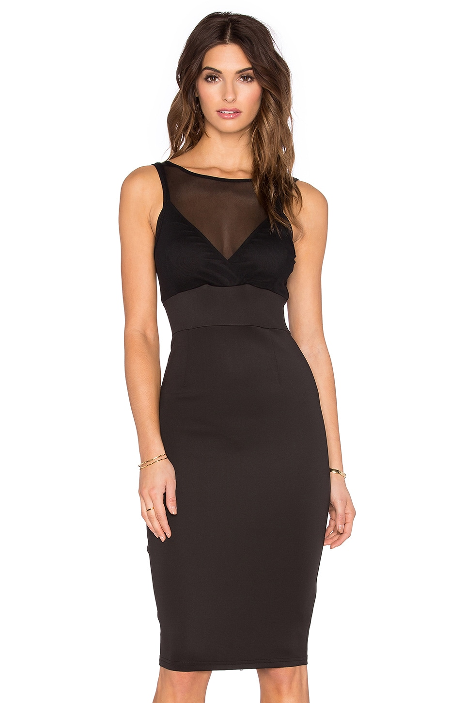 Lavish Alice Mesh Overlay Bodycon Dress in Black