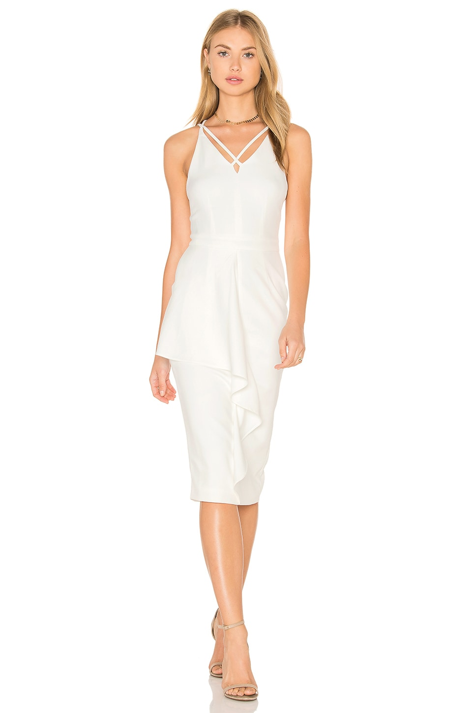Lavish Alice Deep Plunge Strap & Frill Detail Midi Dress in White