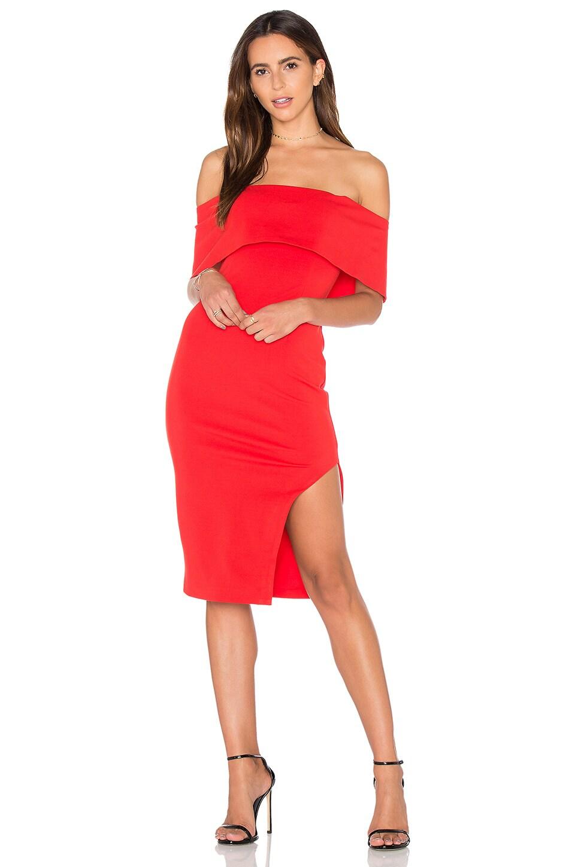 Lavish Alice Deep Bandeau Asymmetric Hem Midi Dress in Red
