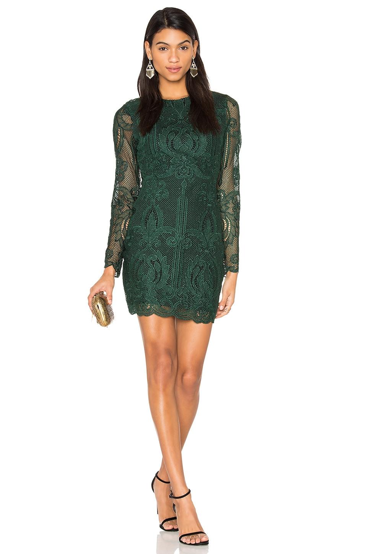 Lavish Alice Lace Open Back Dress in Premium Forest Green