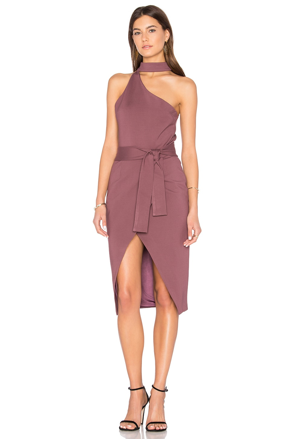 Lavish Alice Asymmetric Dress in Mauve Wine