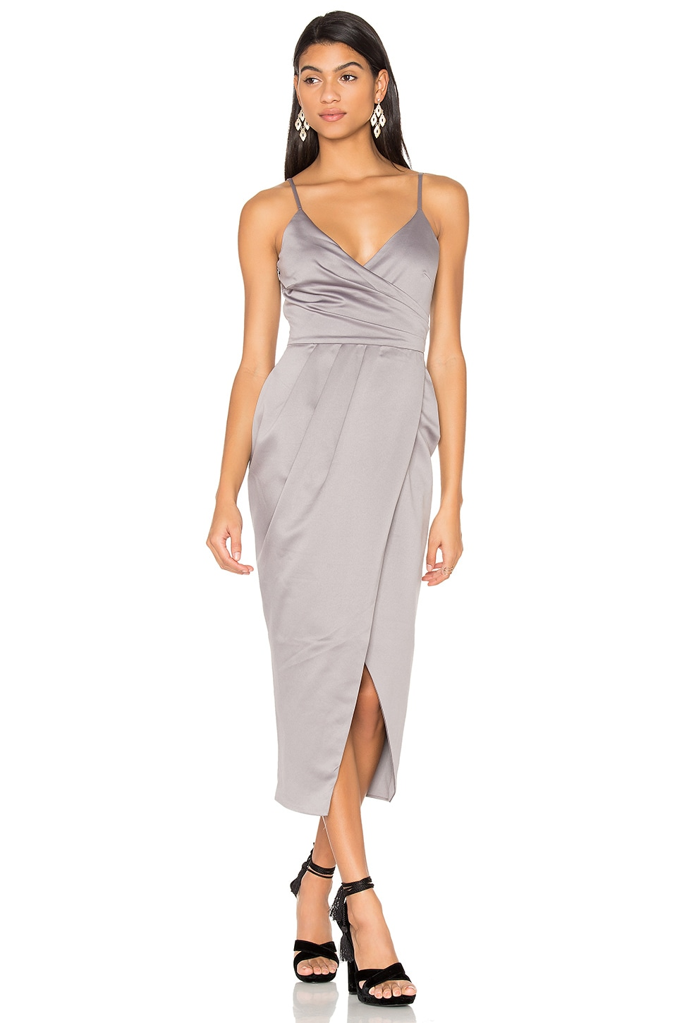 Satin Wrap Midi Dress by Lavish Alice