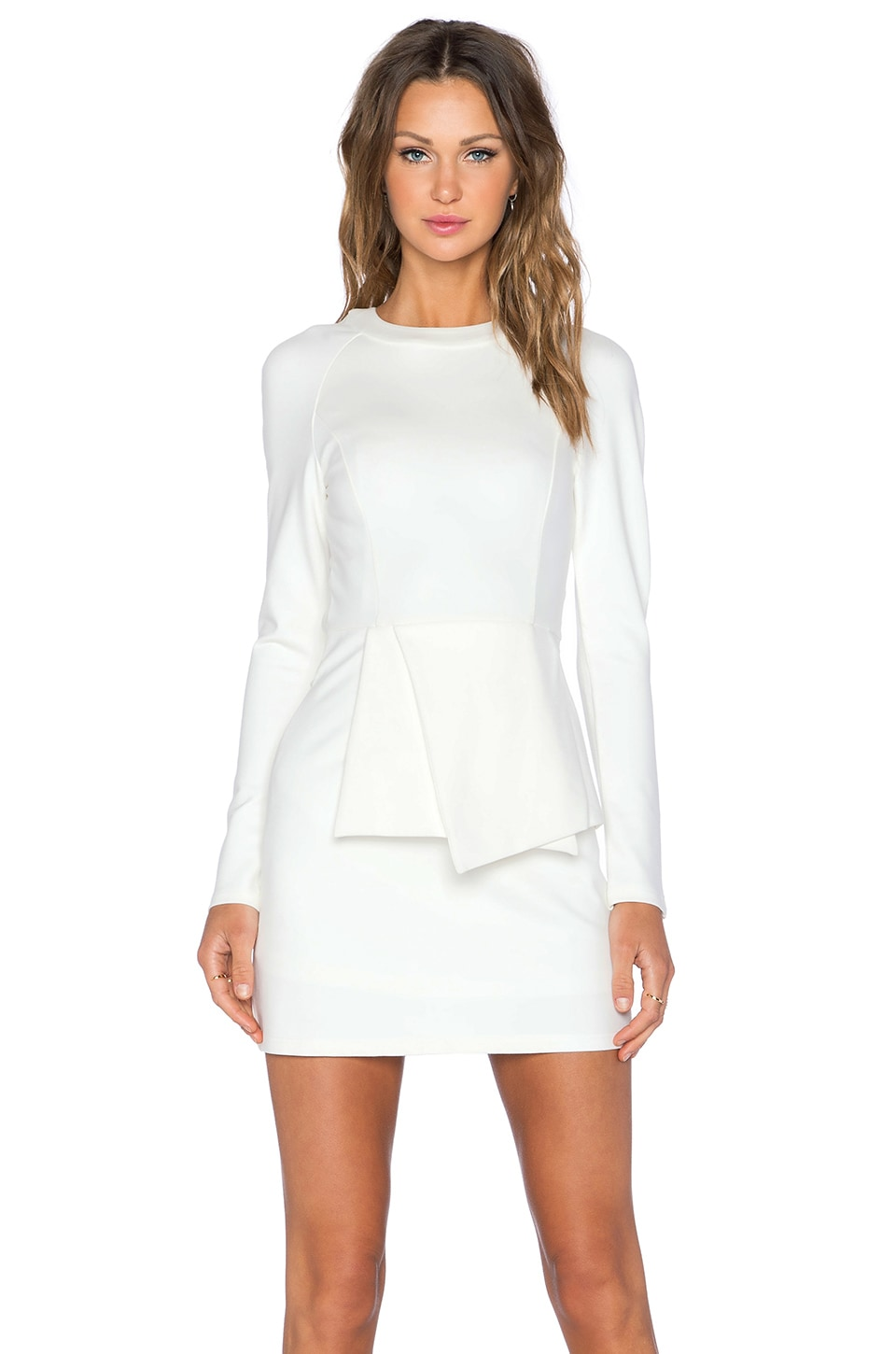 Lavish Alice Tie Front Mini Dress in White