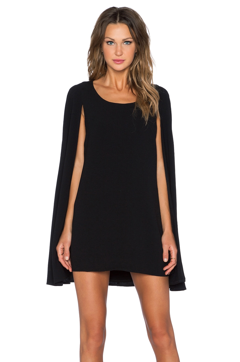 Lavish Alice Cape Back Mini Dress in Black