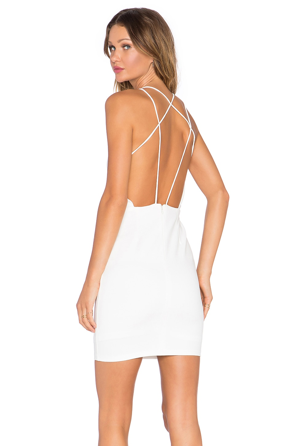 Lavish Alice Strap Back Dress in White