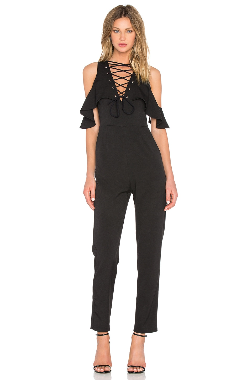 e5e265342e47 Lavish Alice Lace Up Jumpsuit in Black | REVOLVE