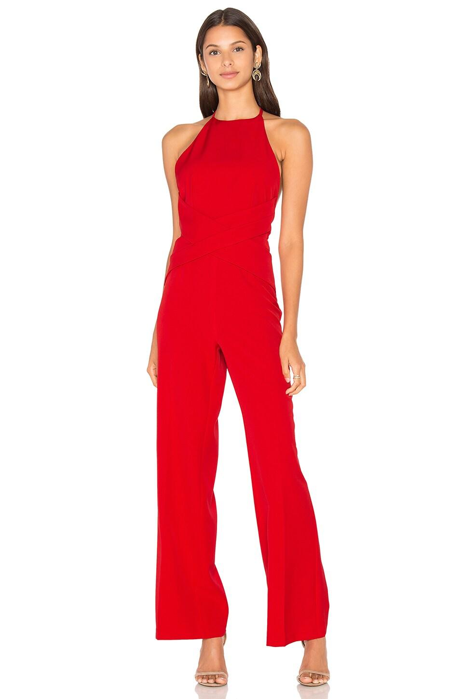 Lavish Alice Wrap Front Plunge Back Detail Wide Leg Jumpsuit in Red