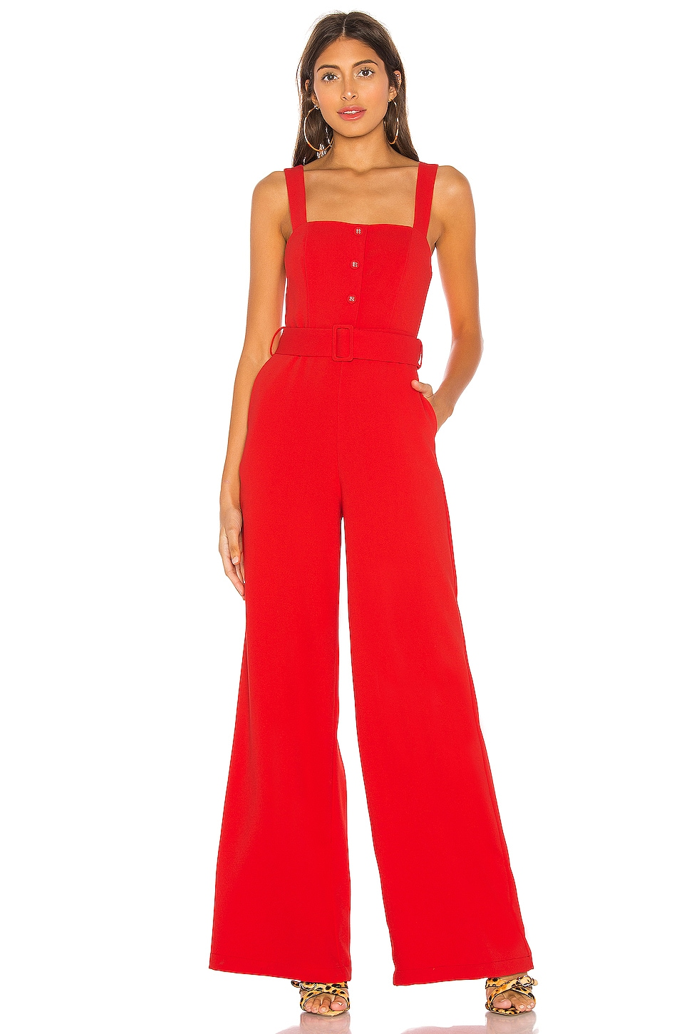 L'Academie Aster Jumpsuit in Red
