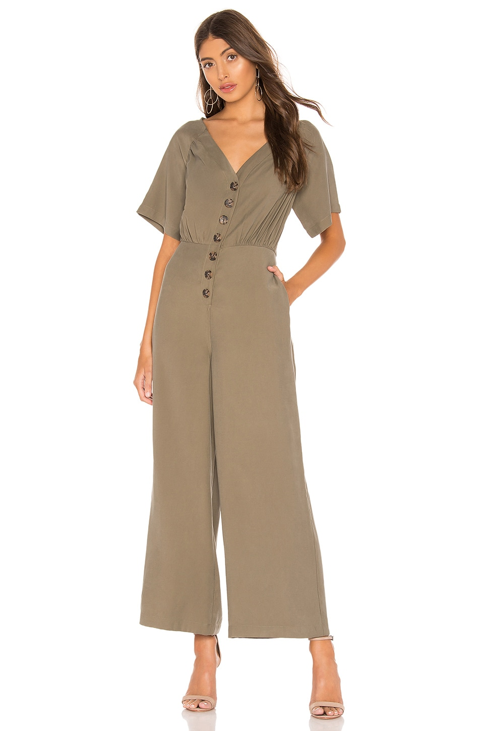 L'Academie The Lissa Jumpsuit in Olivine Green