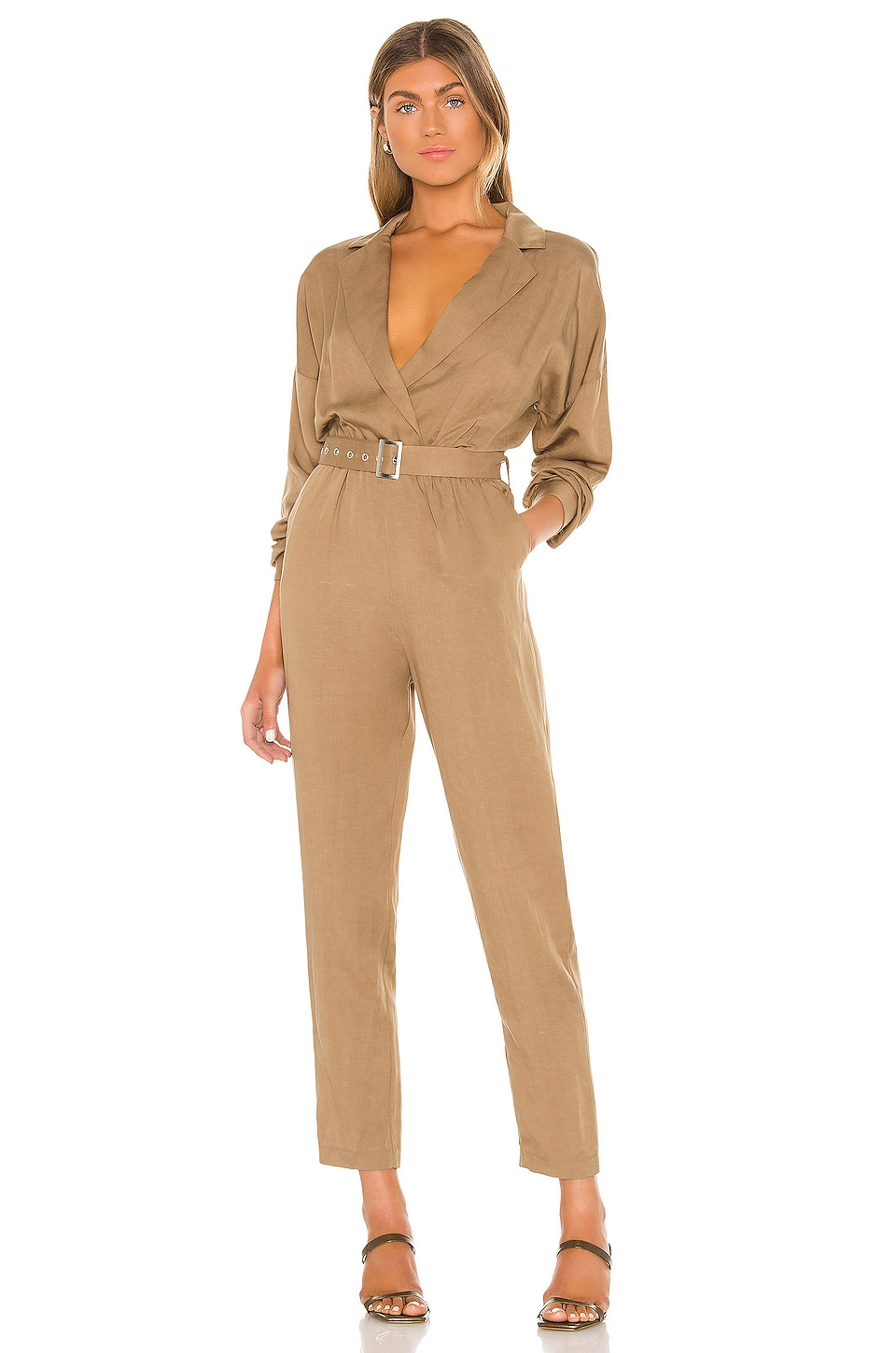 L'Academie Reed Jumpsuit in Khaki