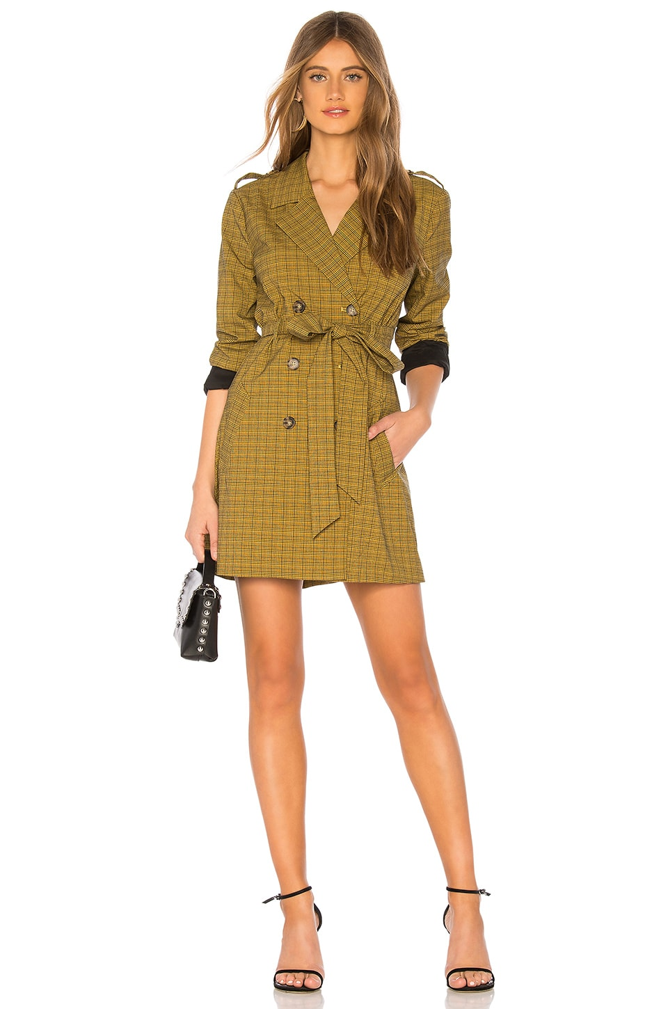 L'Academie The Milena Mini Dress in Yellow Plaid