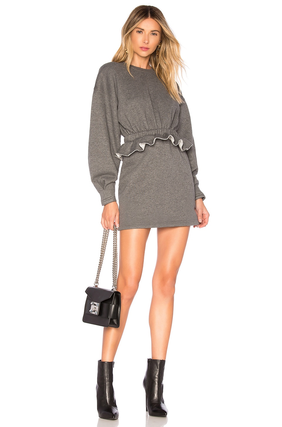 L'Academie The Jesse Mini Dress in Charcoal Grey