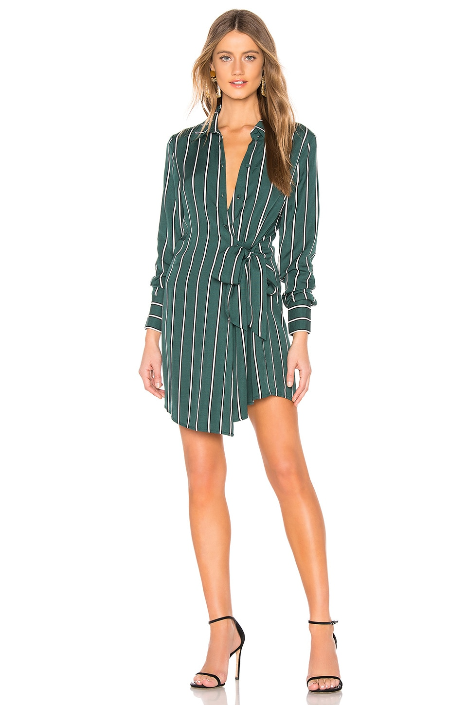 L'Academie The Sondra Mini Dress in Kelly Green Stripe