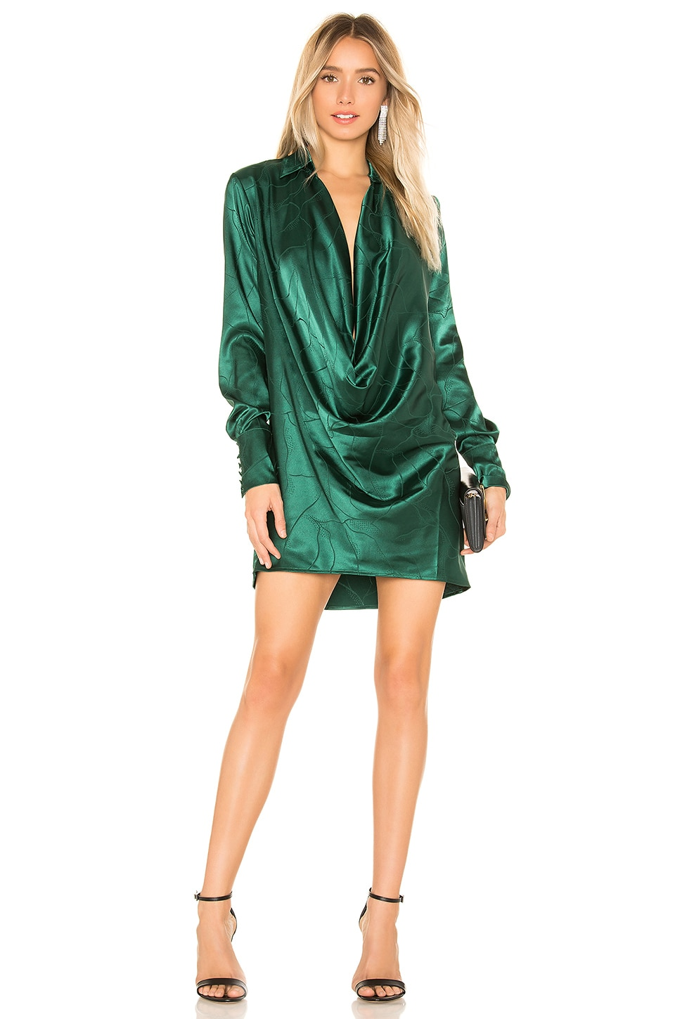 L'Academie The Terri Mini Dress in Rainforest Green