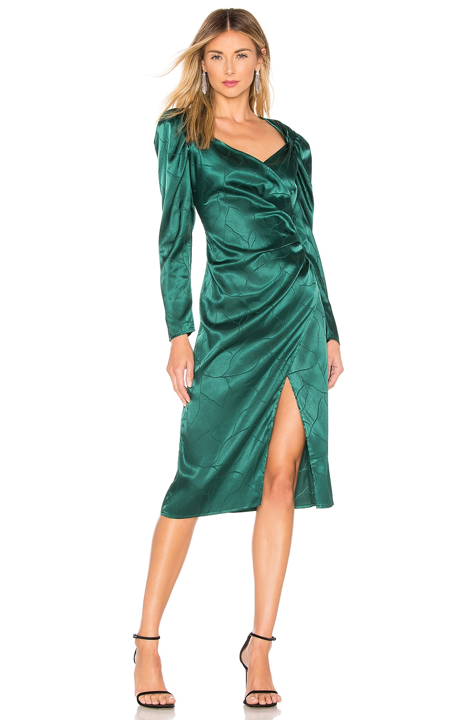 L'Academie The Cindy Midi Dress in Rainforest Green