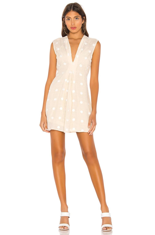 L'Academie The Lydia Mini Dress in Beige & White Dot