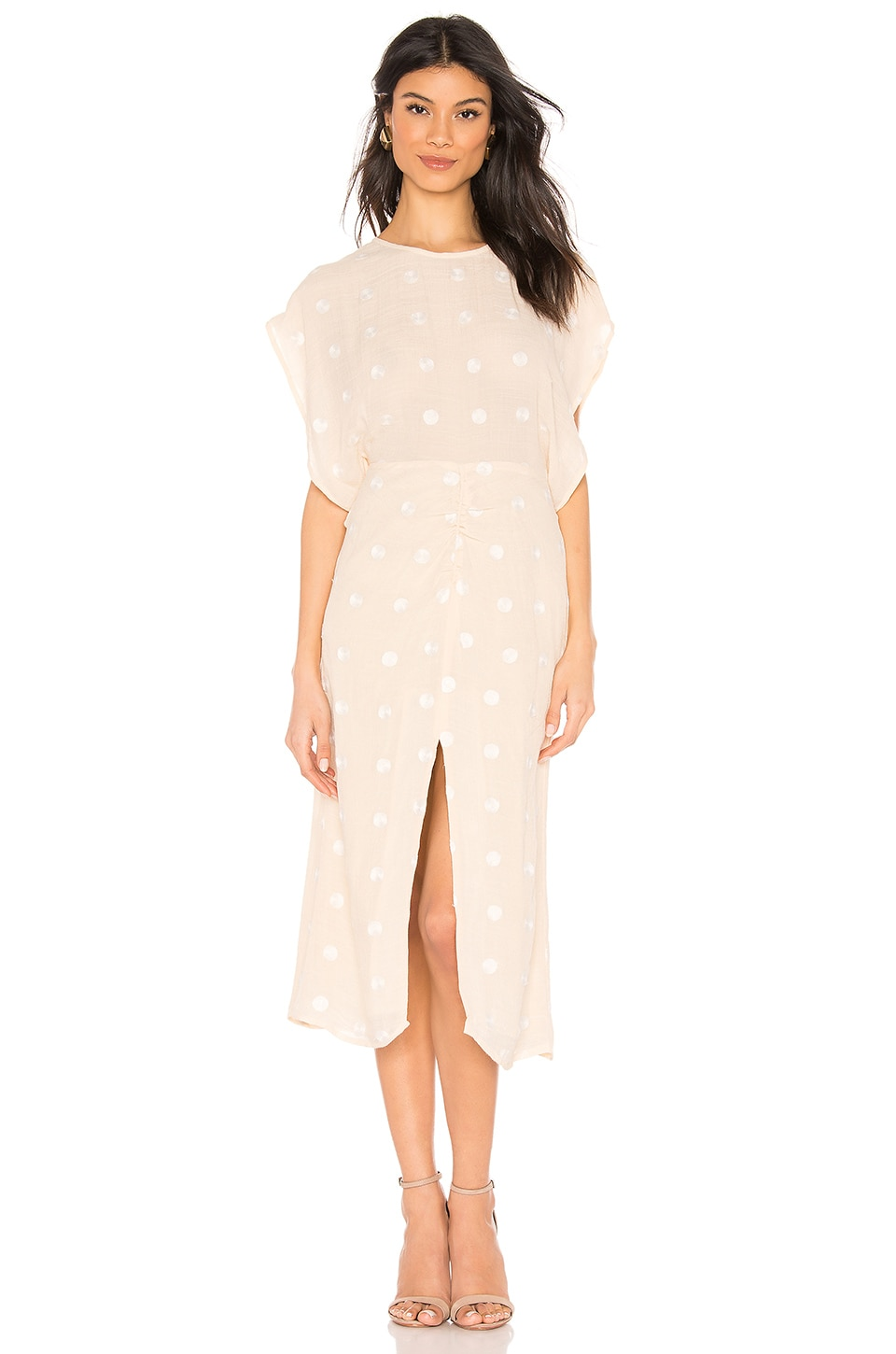 L'Academie The Phoebe Midi Dress in Beige & White Dot