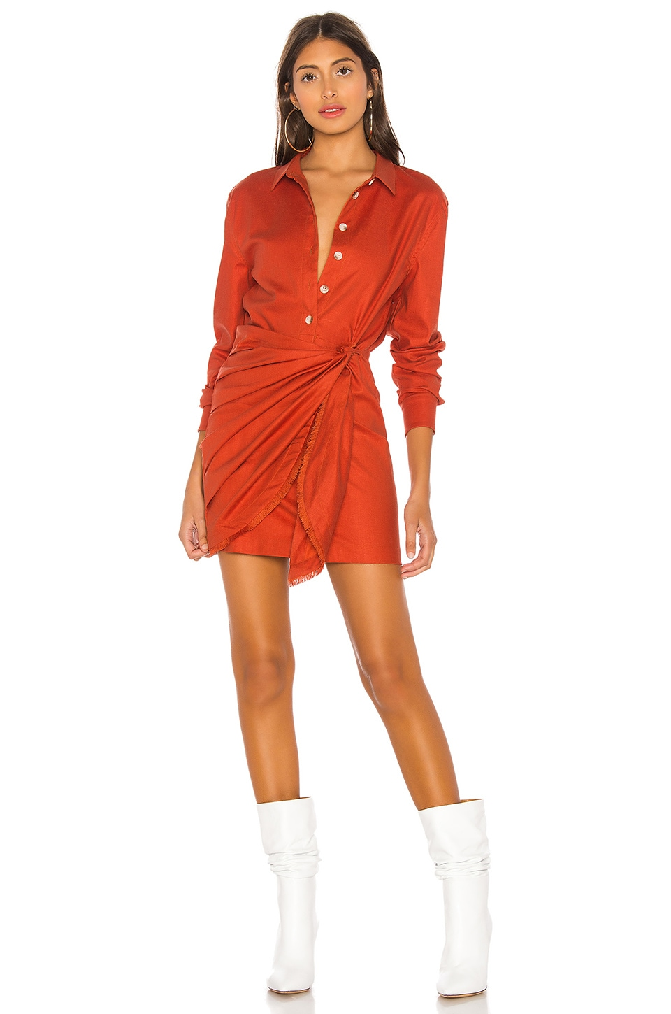L'Academie The Adelyn Mini Dress in Cherry Red