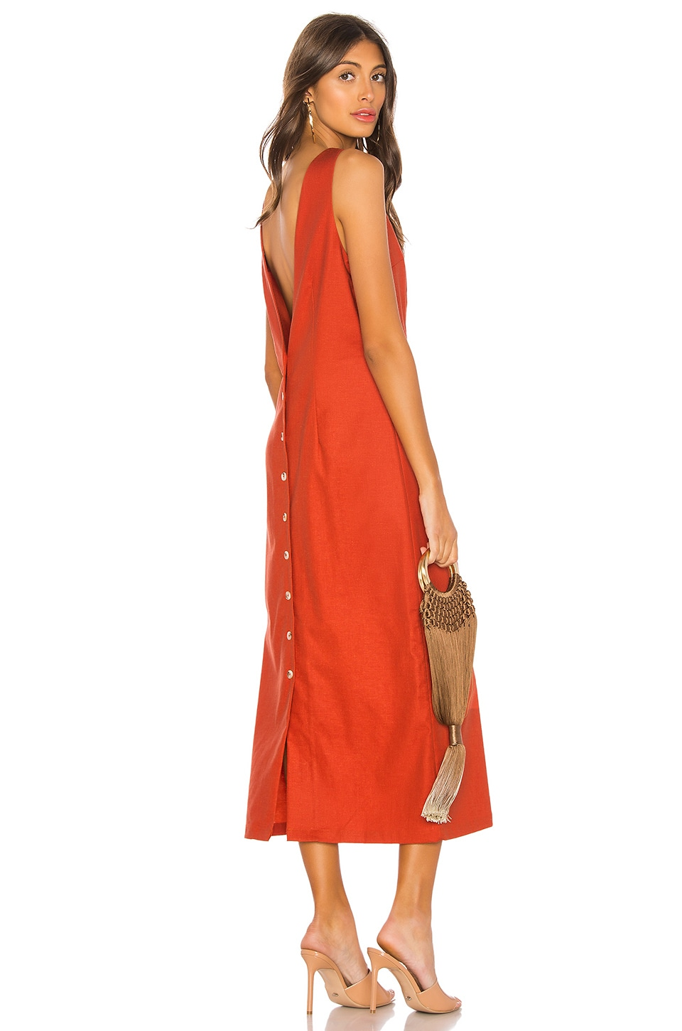 L'Academie The Darcy Midi Dress in Cherry Red