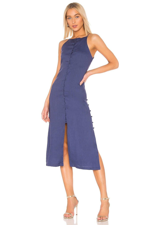 L'Academie The Karla Midi Dress in Midnight Blue