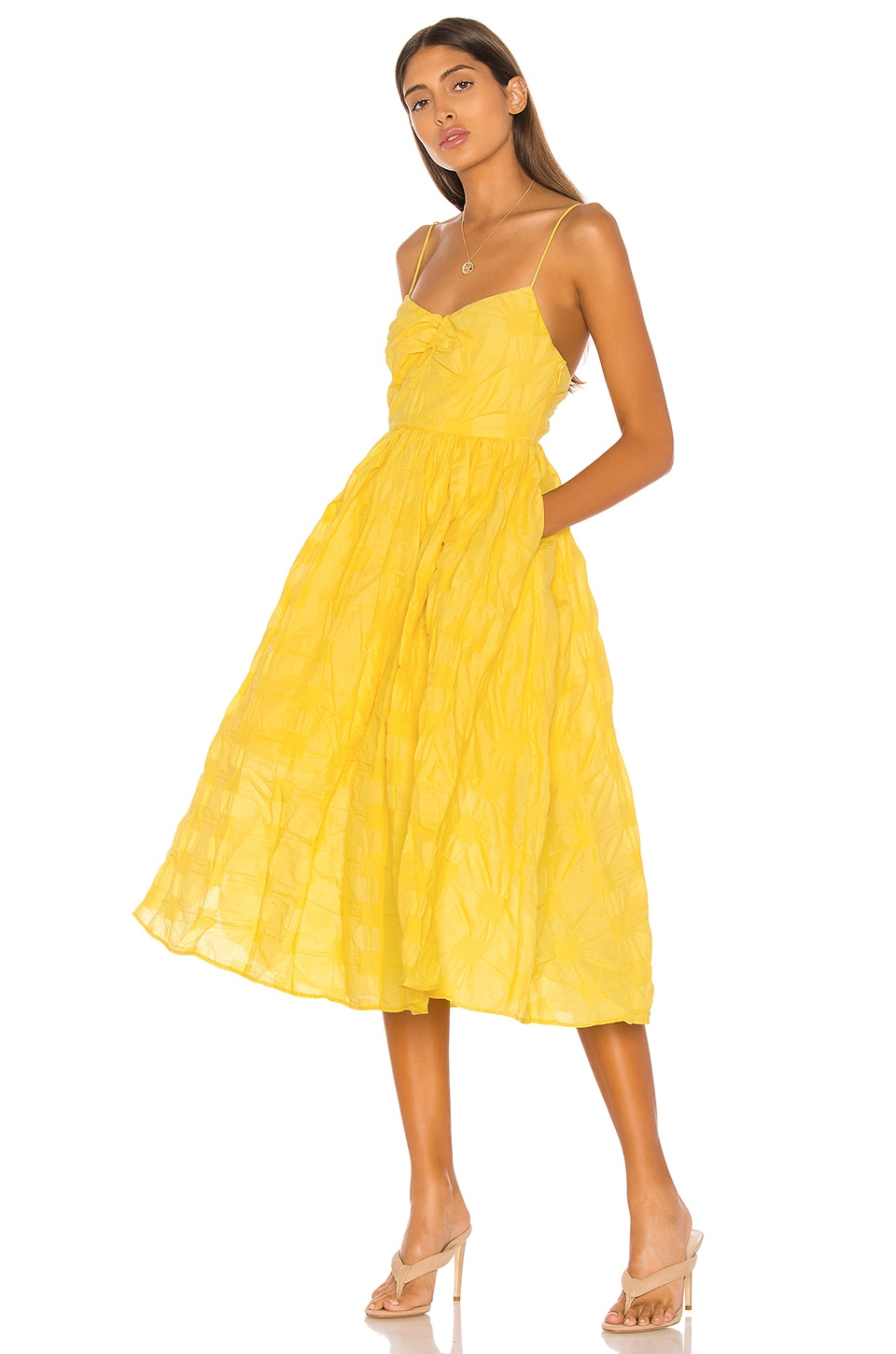 L'Academie The Marie Midi Dress in Lemon Yellow