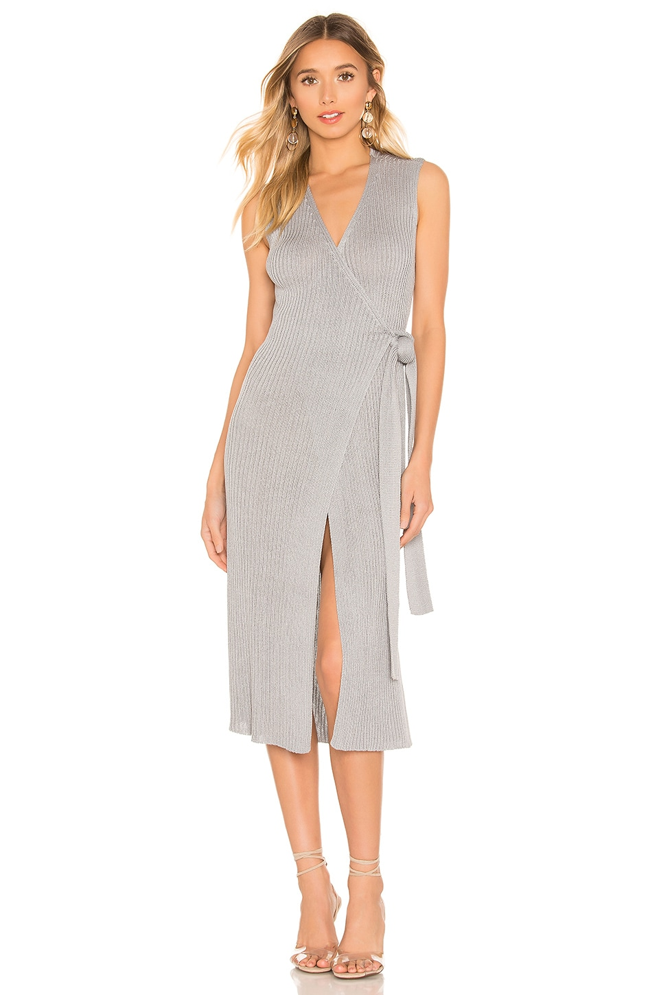 L'Academie Charlotte Wrap Dress in Grey