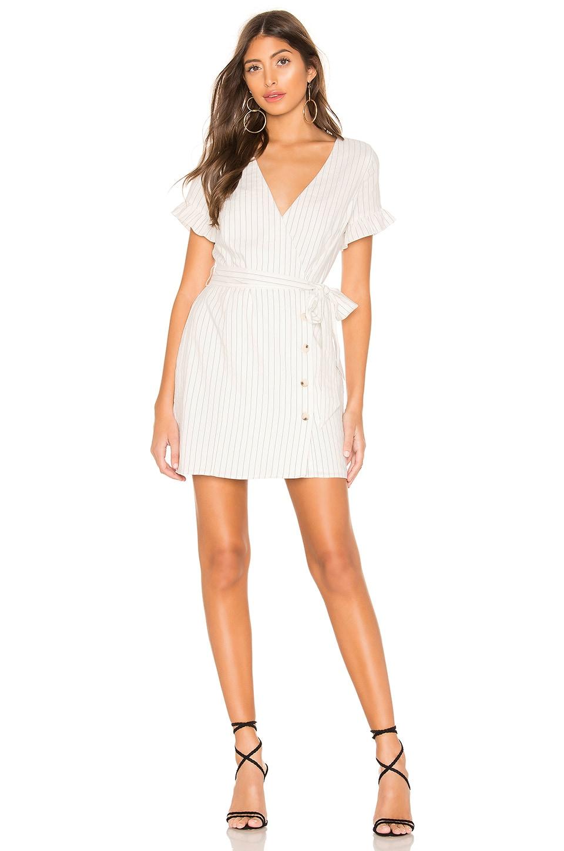 L'Academie Liza Mini Dress in White Stripe
