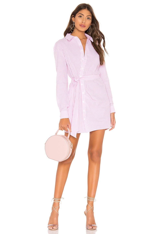 L'Academie August Shirt Dress in Pink Stripe