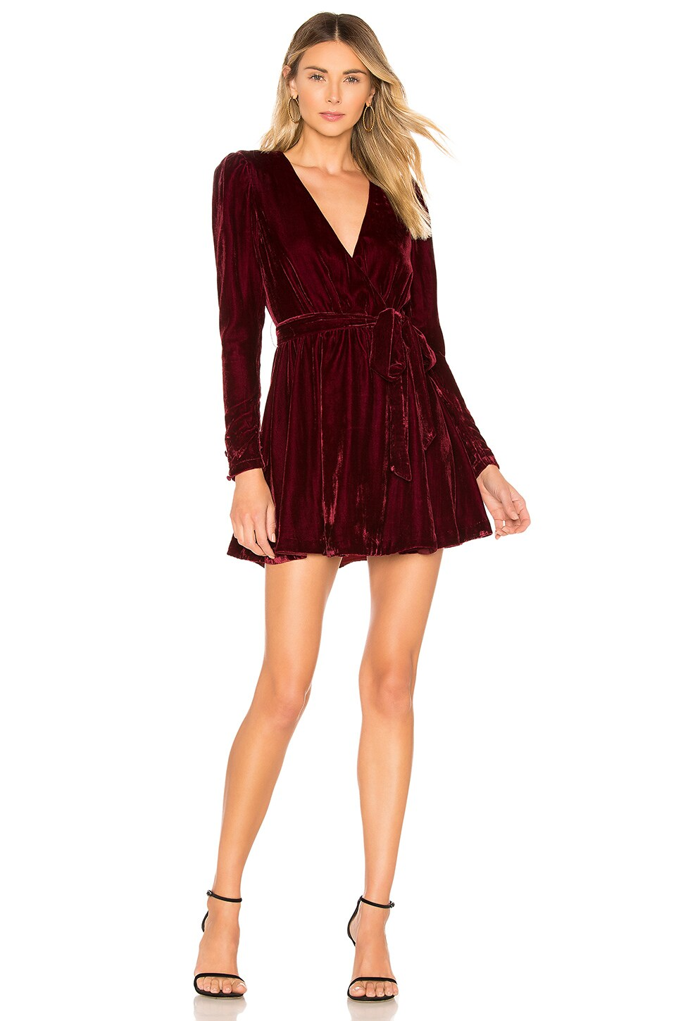 L'Academie The Chrissy Mini Dress in Sangria Red