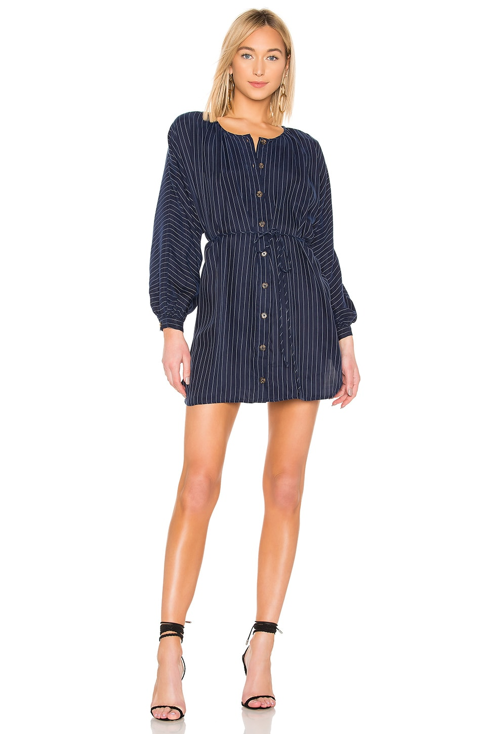 L'Academie The Oliver Mini Dress in Navy & White