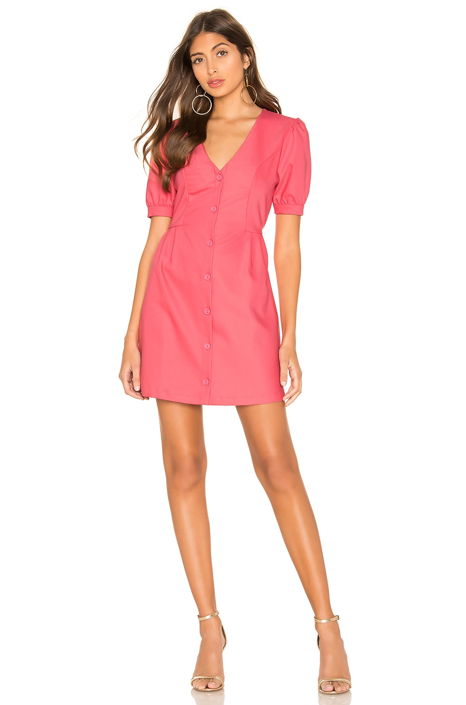 L'Academie The Violet Mini Dress in Calypso Coral