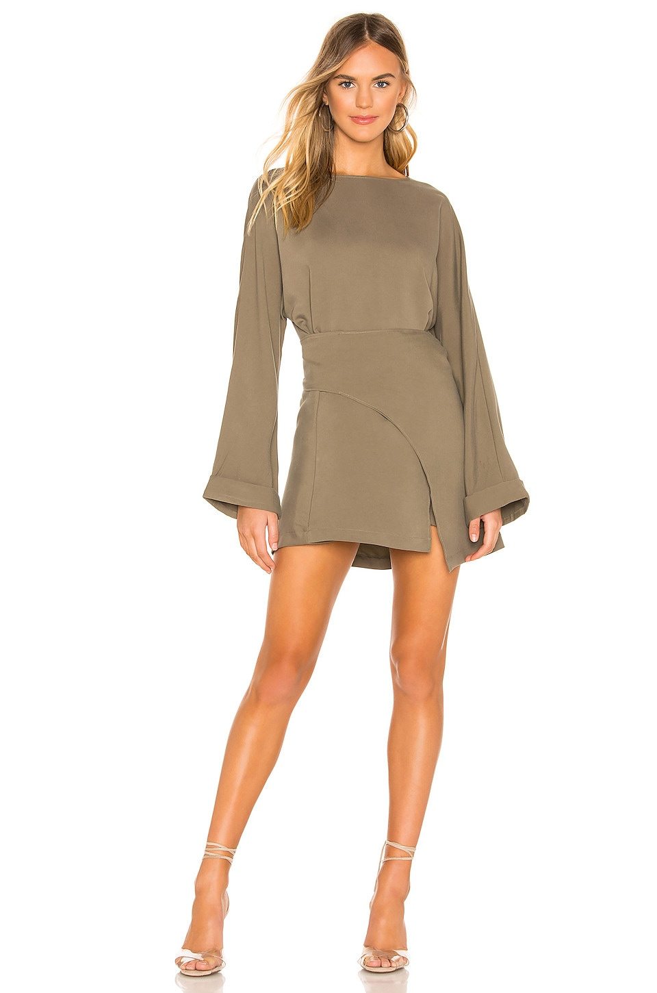 L'Academie The Shannon Mini Dress in Olivine Green