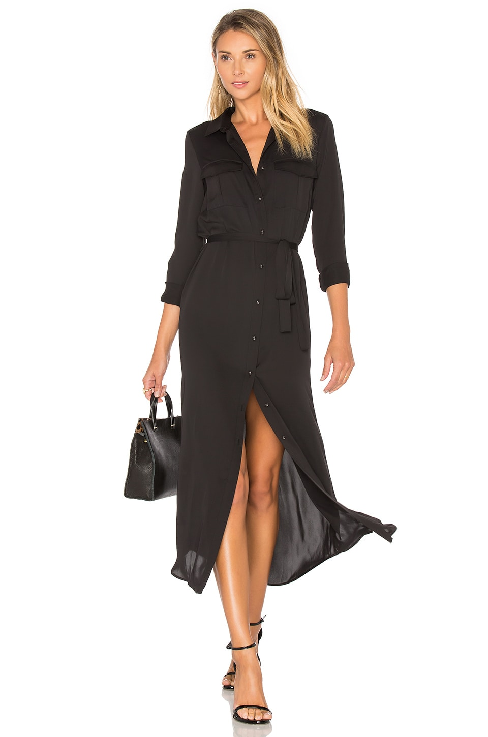 L'Academie The Long Sleeve Shirt Dress in Black